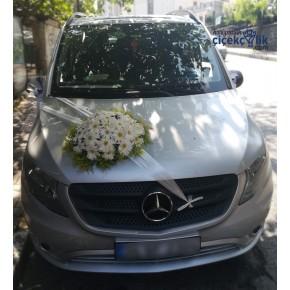 Beyaz Çiçekli Vito Araba Süsleme