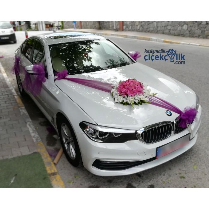 Gelin Araba Süsleme - Renkli Çiçekli BMW