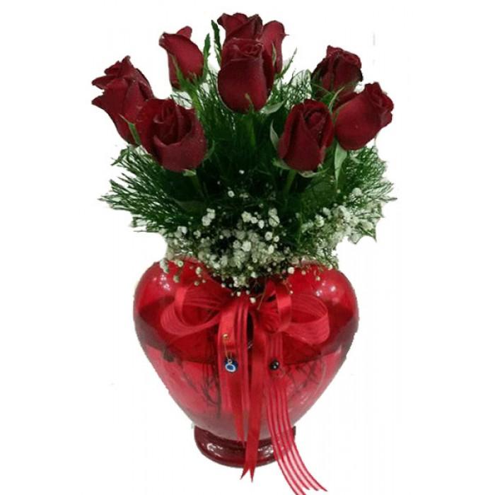 9'lu Kırmızı Gül Kırmızı Kalp Vazo